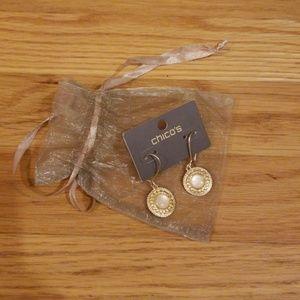 Chico's gold/opaline earrings